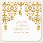 Leaf Damask Art Nouveau Glitter Reception Decor Square Paper Coaster