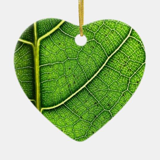 Leaf Dble-sided Heart Ornanent Ceramic Ornament