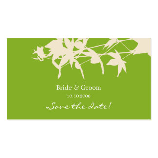 Leaf design Save the date GREEN Business Card