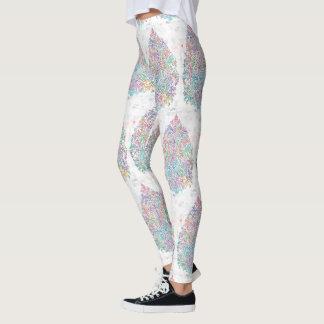Leaf Detailed Mandala Mosaic Workout Wear Leggings