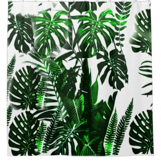 Leaf Fabric Shower Curtain With Palm Tree Leaves,