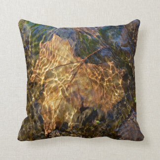 Leaf Floating Downstream Photographic Art Cushion