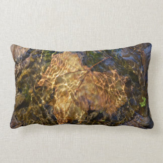 Leaf Floating Downstream Photographic Art Lumbar Cushion