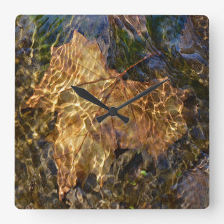 Leaf Floating Downstream Photographic Art Square Wall Clock