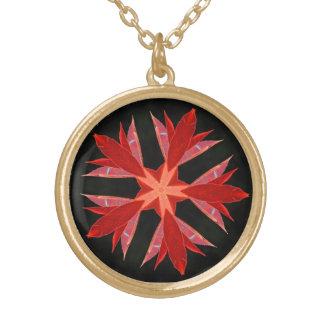 Leaf Flower Round Pendant Necklace
