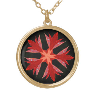 Leaf Flower Round Pendant Necklace