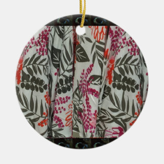 Leaf Flowers Fabric Dress pattern template diy fun Round Ceramic Decoration