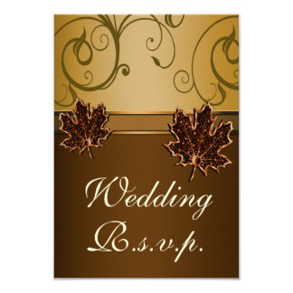 Leaf Gold Chocolate Brown Fall Wedding RSVP Cards