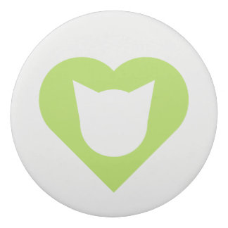 Leaf Green Heart/Cat Face Silhouette Eraser
