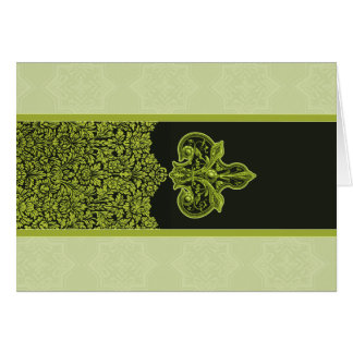 Leaf Green Indian Floral Ornament Note Cards