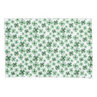 Leaf-Green Lucky Shamrock Clover Pillowcase