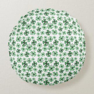 Leaf-Green Lucky Shamrock Clover Round Cushion