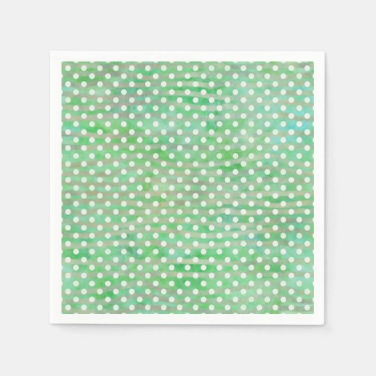 Leaf Green Watercolor Polka Dots Disposable Serviettes