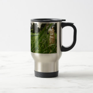 Leaf in grass stainless steel travel mug
