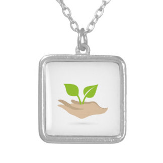 Leaf in hands silver plated necklace