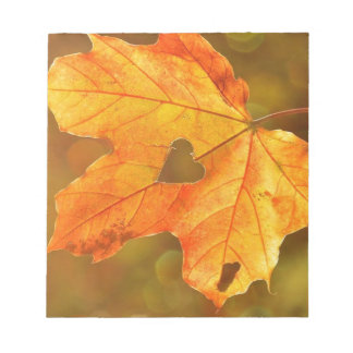 Leaf in Heart Notepad