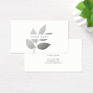 Leaf Laurel Eco  Botanic Silver Gray White Business Card
