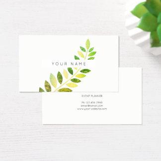 Leaf Laurel Fern Botanic Green Emerald White Business Card