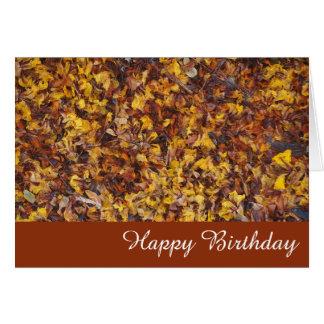Leaf litter blank birthday card