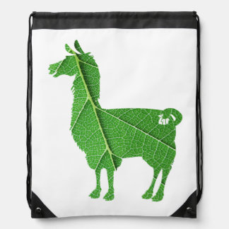 Leaf Llama Drawstring Bag