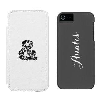 Leaf Mosaic Black Textured Ampersand Incipio Watson™ iPhone 5 Wallet Case