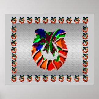 Leaf n Flower Petals Wreath : ENJOY n share JOY Poster