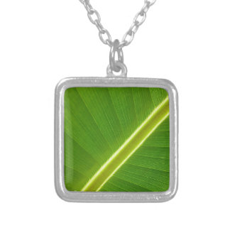 Leaf of banana tree square pendant necklace