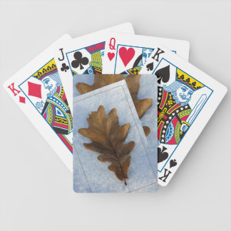 leaf on snow bicycle playing cards