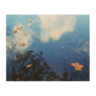 Leaf on Water Wood Print