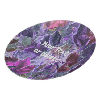 Leaf Pattern Abstract Foliage Pink and Purple Plate