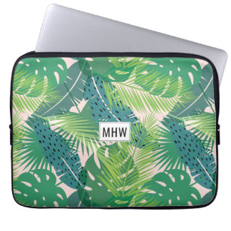 Leaf Pattern custom monogram laptop sleeves