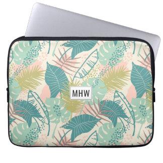 Leaf Pattern custom monogram laptop sleeves