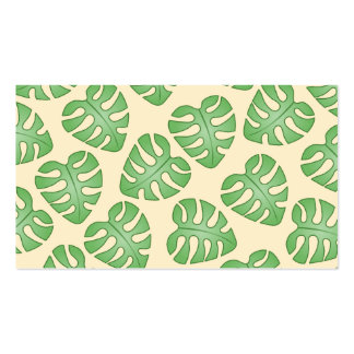 Leaf Pattern, Monstera Leaves on Cream Color. Business Card Template