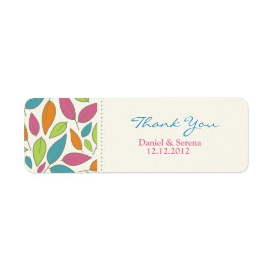 Leaf Pattern Wedding Thank You Gift Tag Label