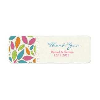 Leaf Pattern Wedding Thank You Gift Tag Label Return Address Label