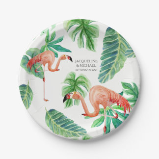 Leaf Pink Flamingo Bridal Shower Decor Watercolor 7 Inch Paper Plate