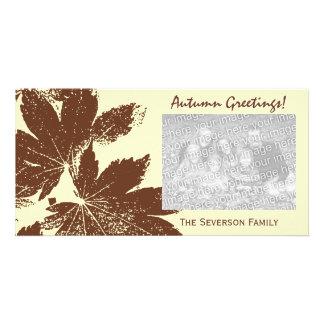 Leaf Print Autumn Greetings Photo Card