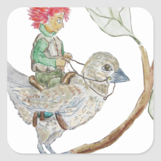 Leaf Sprite Rides a Sparrow Square Sticker