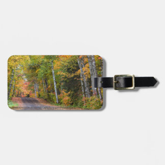 Leaf Strewn Gravel Road With Autumn Color Travel Bag Tag