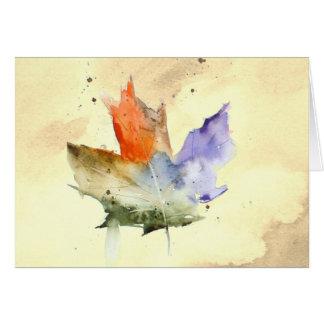 Leaf watercolor blank note card. greeting card
