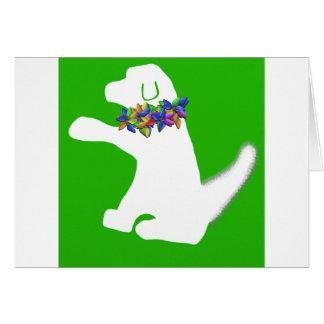 Leaf white dog Christmas lights card