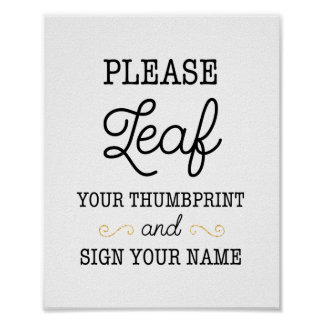 Leaf Your Thumbprint Wedding Sign Poster