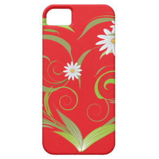 Leafs and Flowers on Red iPhone 5 Case