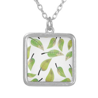 leafs fresh design silver plated necklace