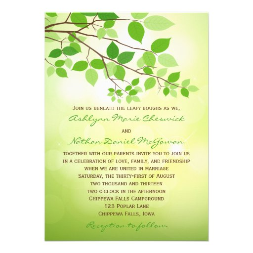 Leafy Branch Camping or Nature Wedding Invitation