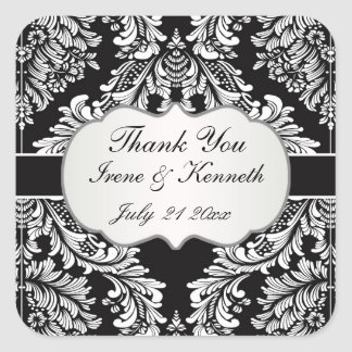 Leafy Damask white on black Wedding favor Square Sticker
