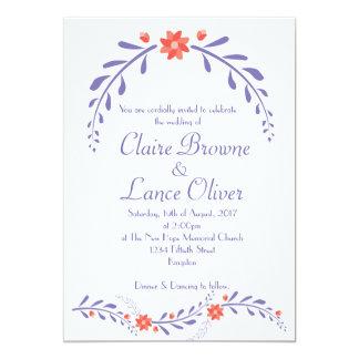 Leafy Flower wedding invite