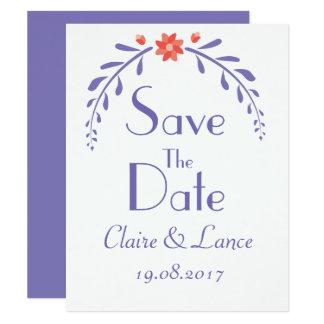 Leafy Flower wedding save the date card