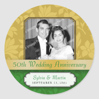 Leafy Gold Damask 50th Anniversary Classic Round Sticker