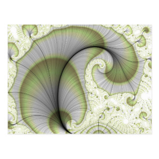 Leafy Green Abstract Fractal Pattern Postcard